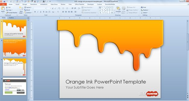 free orange background powerpoint template