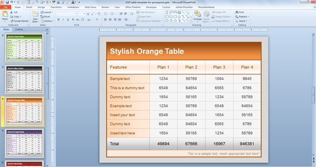 table style powerpoint