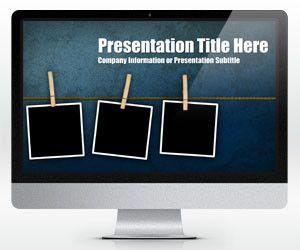 Widescreen Peg Grunge PowerPoint Template (16:9)