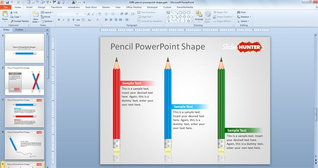 free Pencil PowerPoint Shape