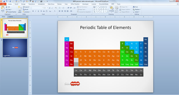 Periodic Table of Elements with names in PowerPoint template chart