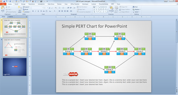 PERT Chart Slide Design for PowerPoint Presentations