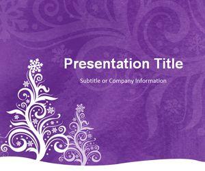 Pine Silhouette Purple PowerPoint Template