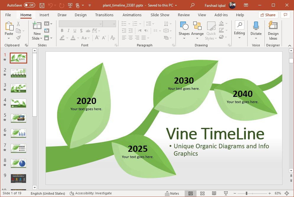 plant timeline for powerpoint