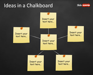 Concept Idea Presentation Template for PowerPoint with Post-It in Chalkboard