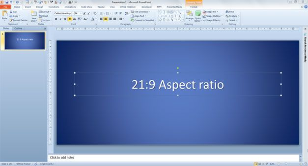 21:9 Aspect Ratio in PowerPoint presentations