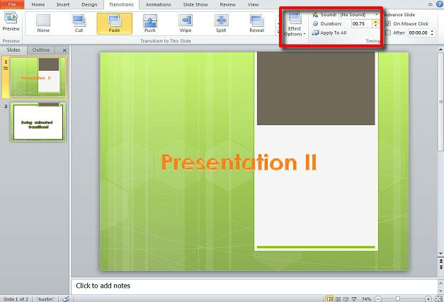 Animated transition in PowerPoint