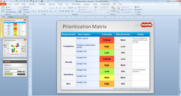 Free Prioritization Matrix PowerPoint Template