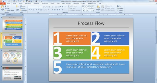[SODI_2457]   Simple Process Flow Template for PowerPoint | Process Flow Diagram Powerpoint 2010 |  | Slide Hunter