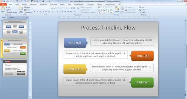 example of process timeline with milestones using Microsoft PowerPoint and shapes