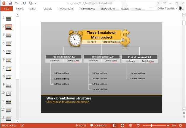 project breakdown structure for powerpoint