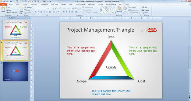 Project Management Quality Triangle for PowerPoint