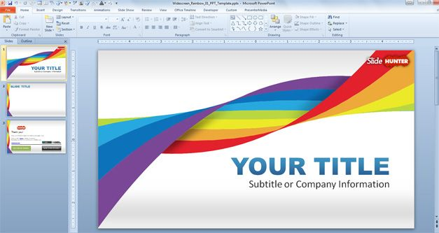 Widescreen Rainbow Template for PowerPoint Presentations