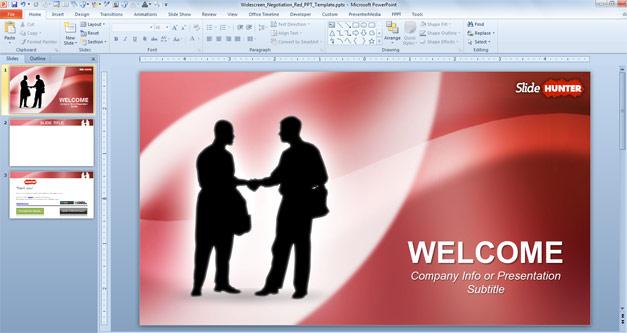 Free Widescreen Handshaking Powerpoint Template 16 9