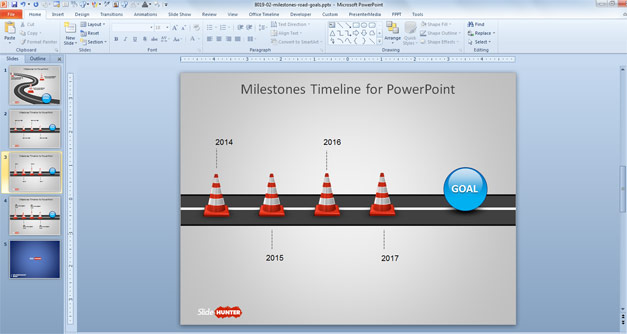 Traffic Cones for PowerPoint with Road Timeline
