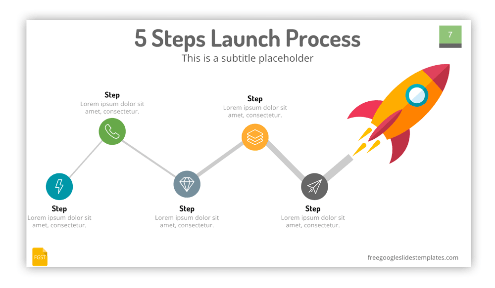 Roadmap Slide with Space Rocket Illustration