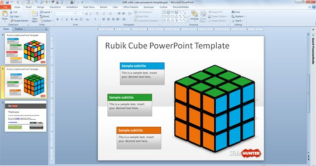 3D Rubik Cube template for PowerPoint free
