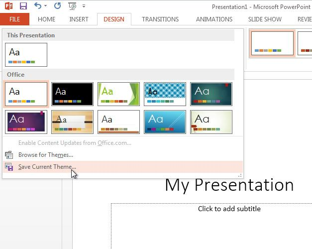 save theme powerpoint 2013