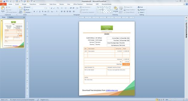 Simple Invoice PowerPoint Template