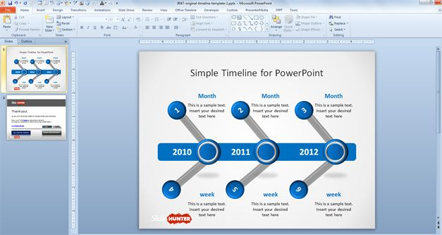 Free Simple Project Timeline design for PowerPoint presentations