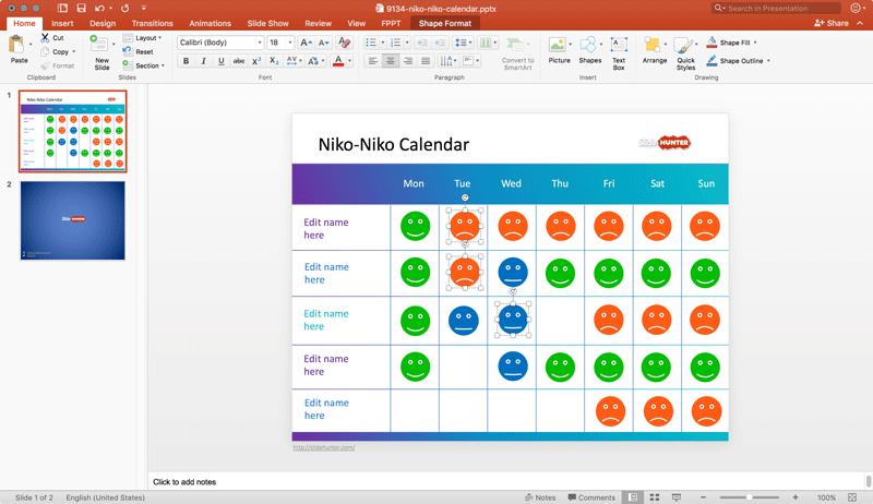 Niko Niko Calendar template
