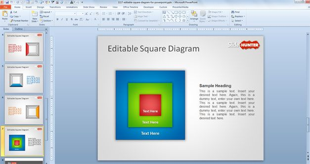square powerpoint template diagram