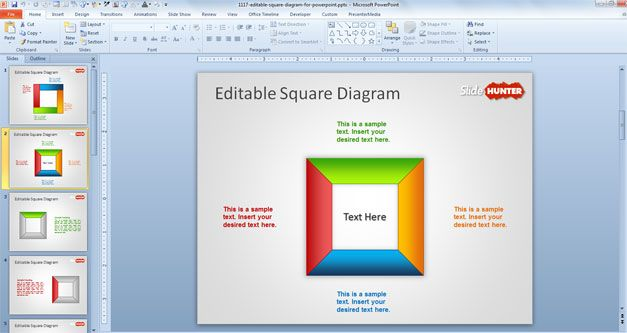 square powerpoint template free download diagram