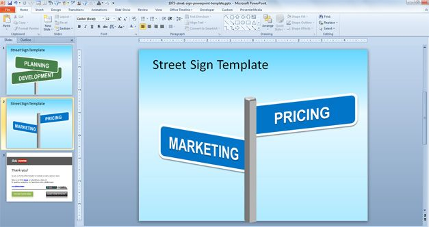 Free Street Sign Powerpoint Template Free Powerpoint