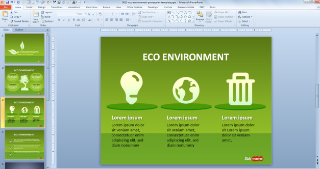 Three text boxes with icons (bulb light, globe and trash can) for PowerPoint