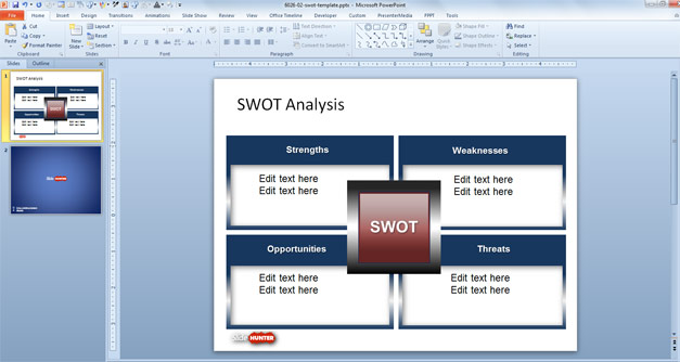 Simple SWOT Analysis PowerPoint slide design