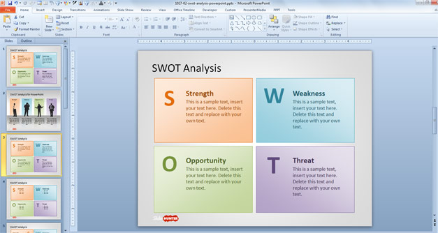 SWOT PPT template slide design with editable SWOT matrix