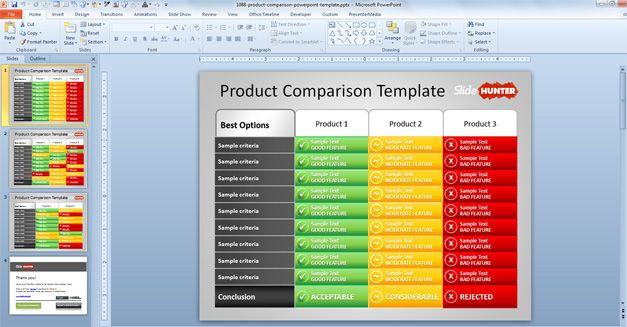 plantilla de PowerPoint gratis con tabla de comparación