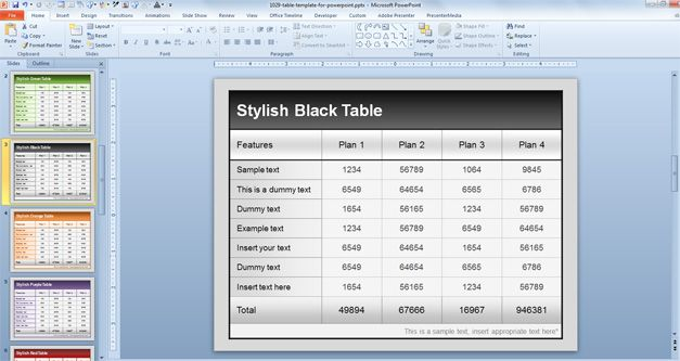 table template design powerpoint