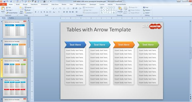 Free Tables with Arrow PowerPoint Template - Free PowerPoint Templates ...