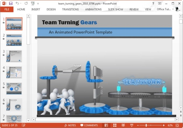team turning gears powerpoint template