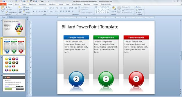 Three Columns Layout in PowerPoint and Billiard Balls with Numbers