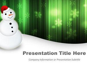 Happy Snowman Green Powerpoint Template
