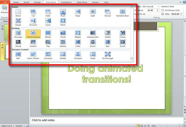 Using transitions in PowerPoint