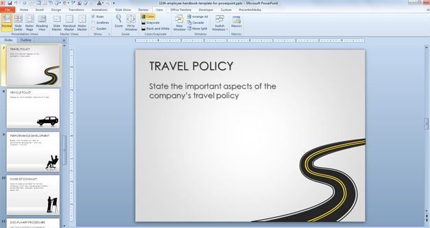 Free Travel Policy Slide Design with Employee Handbook Template