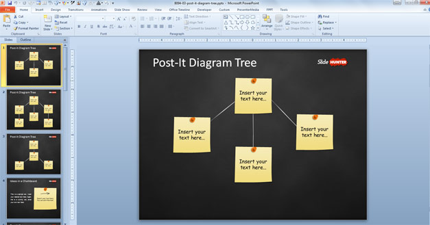 Post It Tree Diagram Template for PowerPoint