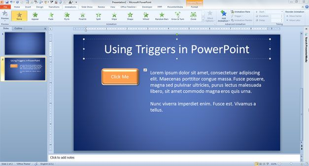 usar triggers powerpoint