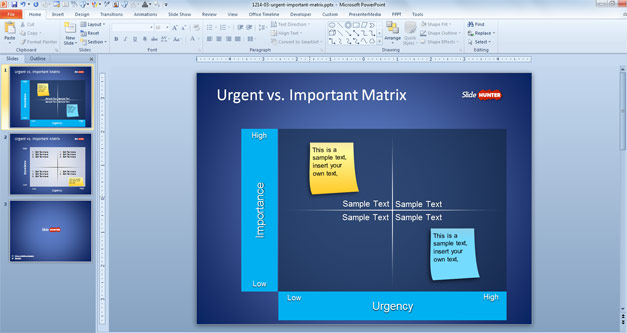 Urgent Vs. Important Matrix template for PowerPoint