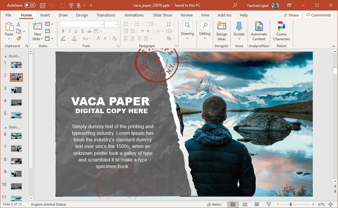 vaca paper powerpoint template