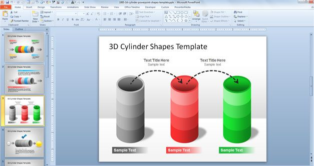 3D Cylinder PowerPoint Shapes Template