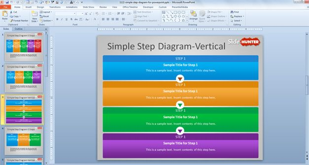 vertical step diagram for powerpoint