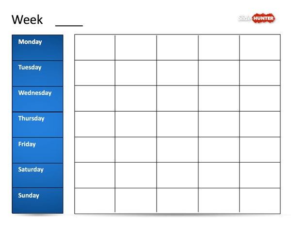 Classic Weekly Calendar Template for PowerPoint