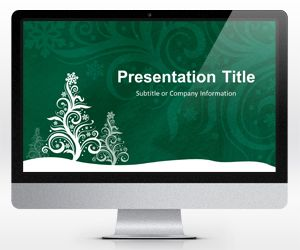 Widescreen Pine Silhouette Green PowerPoint Template for Christmas (16:9)