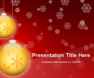 Widescreen Golden Balls Red PowerPoint Template (16:9)