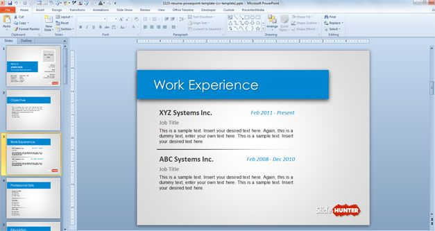 work experience resume in PowerPoint