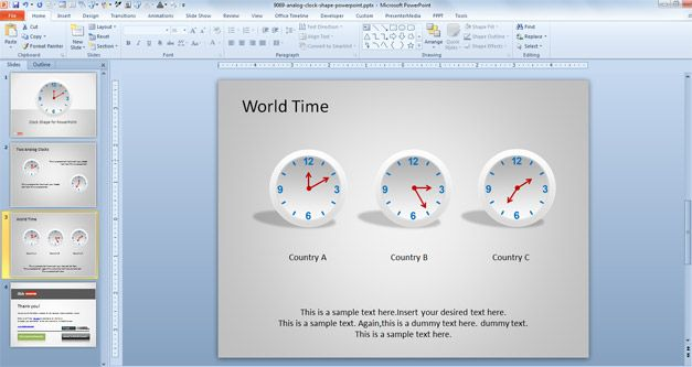 Clock Shape for PowerPoint with Analog Clock design for Microsoft PowerPoint